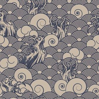 Vintage japoński wzór z różnymi falami w monochromatycznym stylu ilustracji