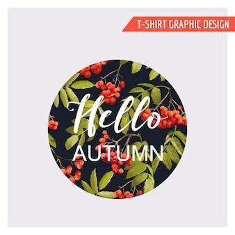 Vintage Jesienny Kwiatowy Projekt Graficzny Premium Wektorów