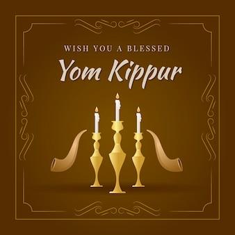 Vintage jom kippur ze świecami