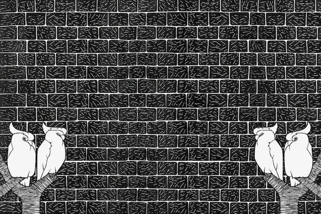 Vintage kakadu koronowany zwierzęcy wydruk artystyczny na ścianie z cegły, remiks z dzieł samuela jessuruna de mesquita