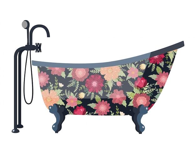 Vintage kąpiel z pięknymi kwiatami