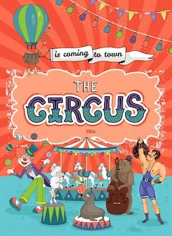Vintage karnawał, wesołe miasteczko lub szablon plakatu cyrkowego