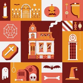 Vintage karta halloween ze starym nawiedzonym domem, torbą trick or treat, przerażającym duchem i innymi tradycyjnymi upiornymi symbolami.