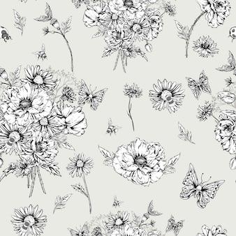 Vintage karta kwiatowy róże i dzikie kwiaty