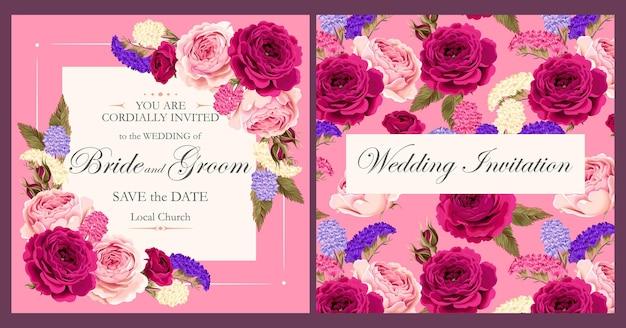 Vintage karta wektor z fioletowymi i różowymi różami i różnokolorowymi suchymi kwiatami