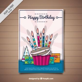 Vintage kartka urodzinowa z cupcake świec
