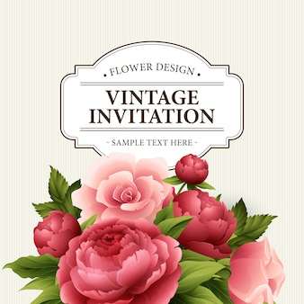 Vintage kartkę z życzeniami z kwitnących piwonii i kwiatów róży.