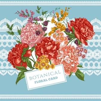 Vintage kartkę z życzeniami z kwitnących piwonii