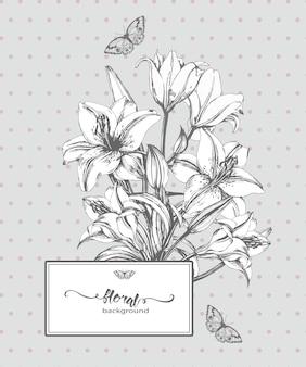 Vintage kartkę z życzeniami z wieniec kwitnących róż i motyli ilustracji wektorowych.