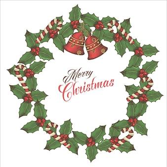 Vintage kartki świąteczne, wieniec z liści ostrokrzewu, dzwony i cukierki z napisem pozdrowienia na czarno