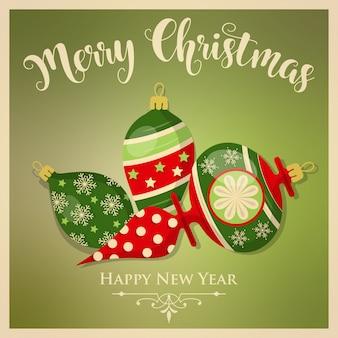 Vintage kartki świąteczne z bombkami i wiadomości. kartkę z życzeniami nowego roku. wydrukować. wektor