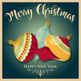 Vintage kartki świąteczne z bombkami i wiadomości. kartkę z życzeniami nowego roku