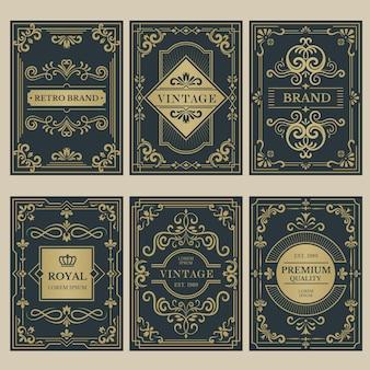Vintage karty korony. królewskie plakaty w stylu wiktoriańskim z kwiatowymi elementami kaligrafii granicami dzielniki narożniki szablony wektorowe. karta jakości premium, winieta do ilustracji ślubu lub certyfikatu