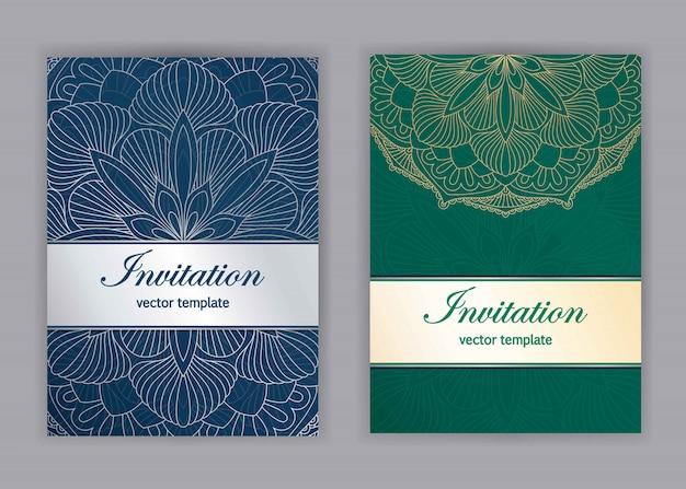 Vintage karty z kwiatowy wzór mandali i ozdoby. islam, arabski, indyjski, motywy otomańskie. zaproszenie lub projekt karty z pozdrowieniami z orientalnym ornamentem.