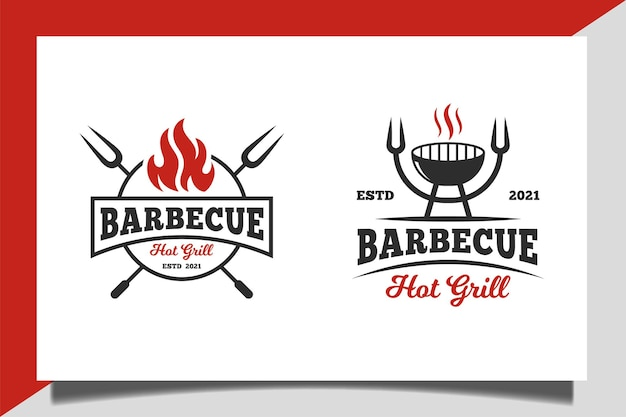 Vintage klasyczny grill lub grill z gorącym grillem menu restauracji projektowanie logo żywności biznesowej