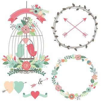 Vintage klatka dla ptaków, kwiaty i ptak miłości