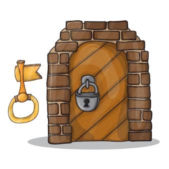 Vintage klucz i drzwi zamku - wektor ilustracja na białym tle, projekt kreskówka