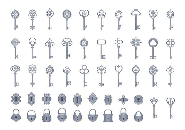 Vintage klucze z zestawem zamków