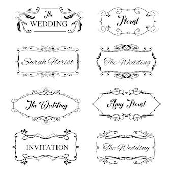 Vintage kobiecy logo ozdobnych projektu ramki na zaproszenie na ślub z kwiatowym szczegółów.