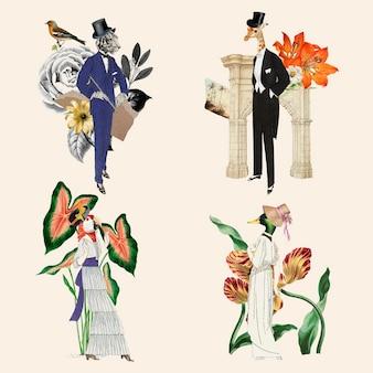 Vintage kolaż estetyczny zestaw graficzny, ilustracja wektorowa kolaż sztuka mieszana