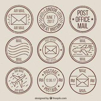 Vintage kolekcja okrągłego znaczków pocztowych