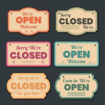 Vintage kolekcja otwarta i zamknięta szyld
