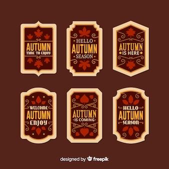 Vintage kolekcja płaskie jesień etykiety