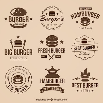 Vintage Kolekcji Wielkich Burger Logos Premium Wektorów