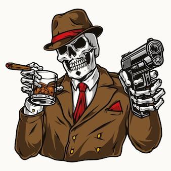 Vintage kolorowa koncepcja szkieletu gangstera na białym tle