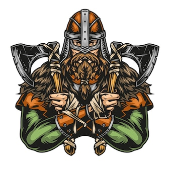 Vintage kolorowa koncepcja wojownika wikingów w hełmie trzymającym osie w dwóch rękach na białym tle ilustracji wektorowych