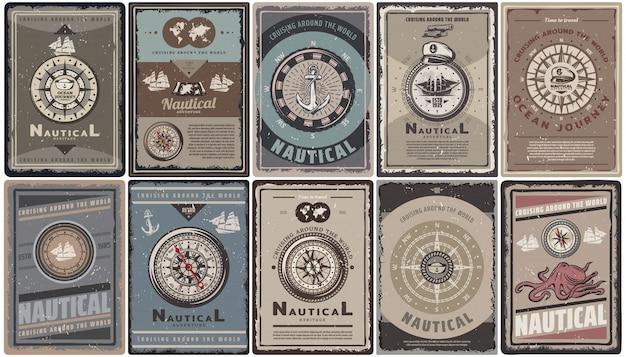 Vintage kolorowe broszury morskie zestaw z tekstem różne kompasy nawigacyjne kotwice statki mapa kapelusz kapitana ośmiornica na białym tle