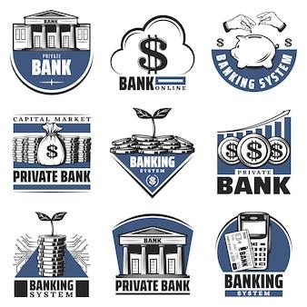 Vintage kolorowe emblematy bankowe zestaw z budynkiem skarbonki stosy gotówki monety kalkulator rosnąca strzałka na białym tle