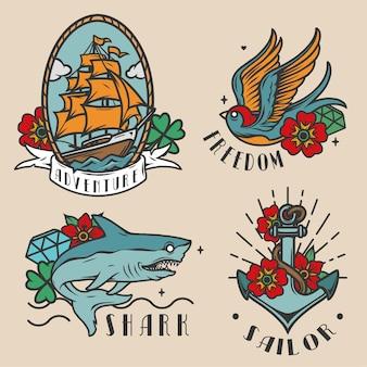 Vintage kolorowe etykiety morskie