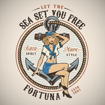 Vintage kolorowe logo morskich