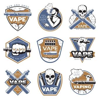 Vintage kolorowe logo vape