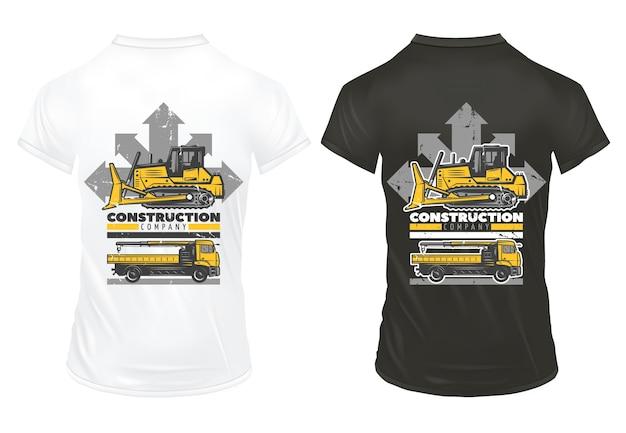 Vintage kolorowe maszyny budowlane drukuje szablon z napisem spychacz budowa ciężarówki na czarno-białych koszulach na białym tle