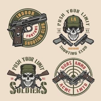Vintage kolorowe odznaki wojskowych i armii