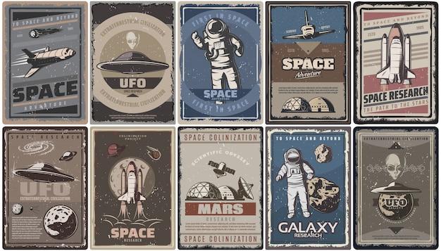 Vintage kolorowe plakaty kosmiczne ze statkami kosmicznymi ufo, planetami, astronautami, asteroidami, kolonizacja marsa i badania izolowane