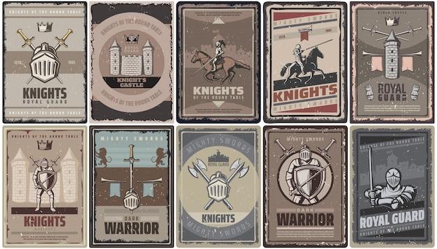 Vintage kolorowe plakaty średniowiecznych rycerzy z wojownikami, mieczami, hełmem, fortecą, toporami, wieżą, trąbkami na białym tle