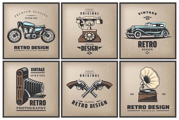 Vintage kolorowe plakaty zestaw z klasycznym samochodowym motocyklowym aparatem telefonicznym skrzyżowane pistolety gramofon na białym tle