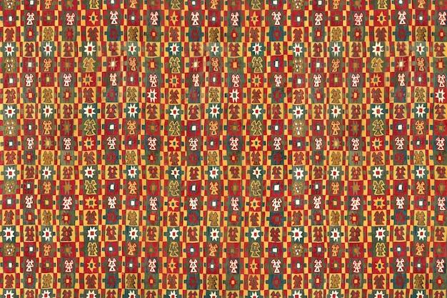 Vintage kolorowe tło wzór sztuki ludowej, zawierające dzieła sztuki z domeny publicznej