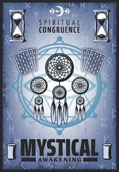 Vintage kolorowy mistyczny plakat z duchową biżuterią karty tarota klepsydra litery runiczne, świece i pentagram
