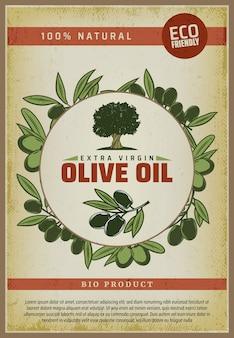 Vintage kolorowy plakat ekologicznej żywności naturalnej z napisami drzewo oliwne i gałęzie
