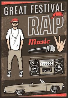 Vintage kolorowy plakat festiwalu muzyki rap z napisem raper samochód kabriolet boombox gest ręki mikrofonu