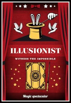 Vintage kolorowy plakat iluzji magii