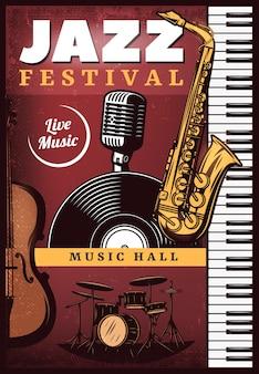 Vintage kolorowy plakat muzyki jazzowej