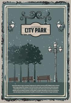 Vintage kolorowy plakat parku miejskiego z latarniami ulicznymi, ławkami drzew i wiszącym drewnianym szyldem