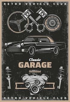 Vintage kolorowy plakat serwisowy w klasycznym garażu z tłokami silnika retro samochodu amortyzatory prędkościomierza kierownicy