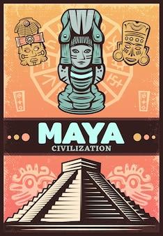 Vintage kolorowy plakat starożytnych majów