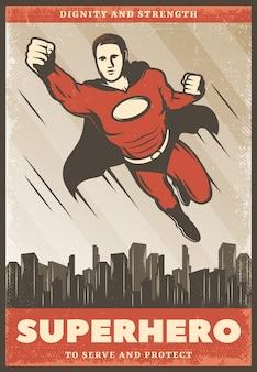 Vintage kolorowy plakat superbohatera